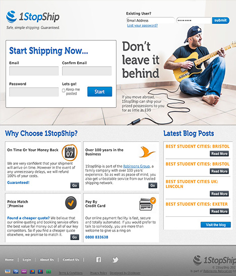 One Stop Ship Website Screenshot