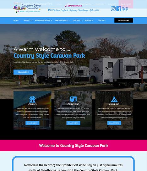 Country Style Caravan Park Website Screenshot