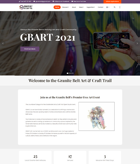 Granite Belt Art Trail (GBART) Website Screenshot