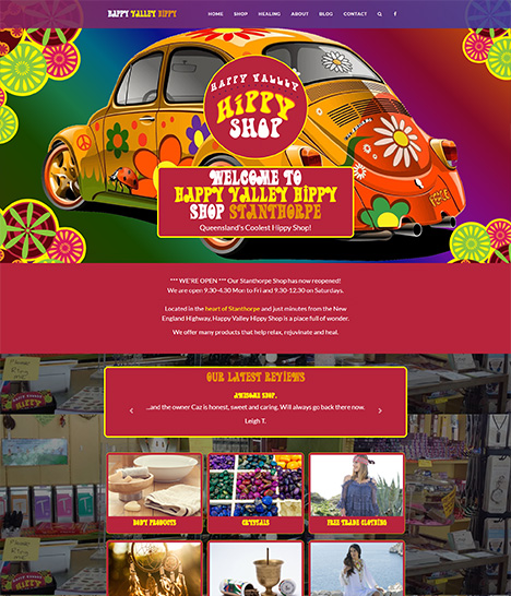 Happy Valley Hippy Shop Website Screenshot