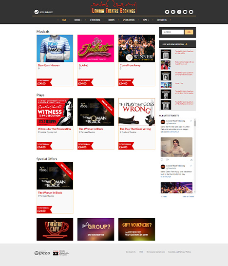 London Theatre Bookings Website Screenshot