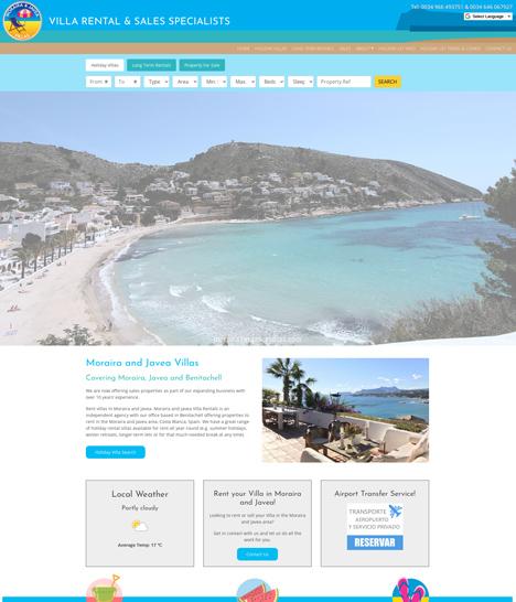 Moraira & Javea Villas Website Screenshot