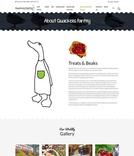 Quackers Pantry Website Screenshot