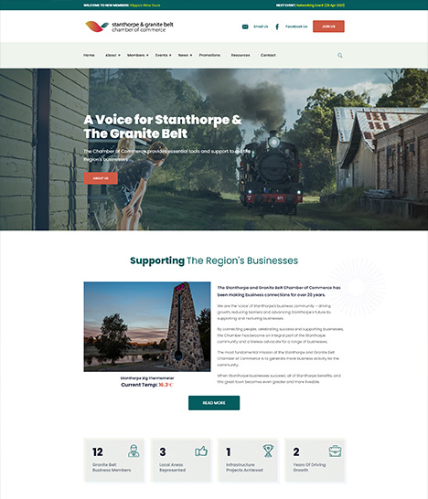 Stanthorpe Chamber of Commerce Website Screenshot