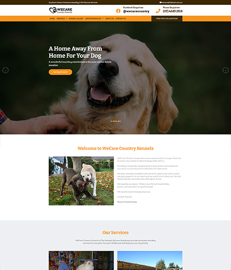 We Care Country Kennels Website Screenshot